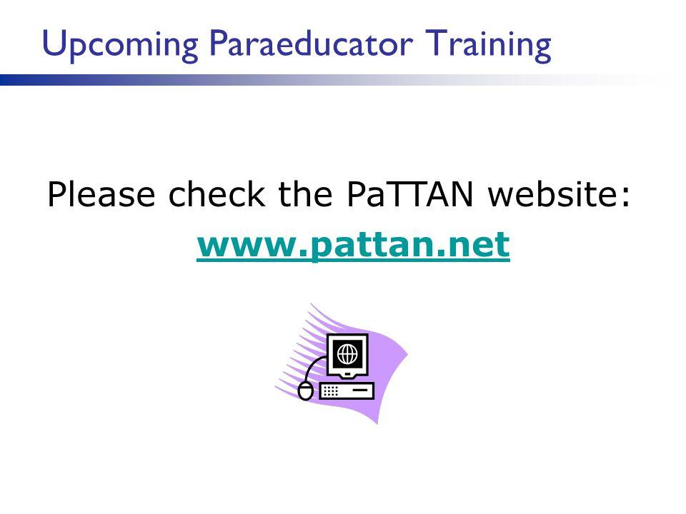 Upcoming Paraeducator Training