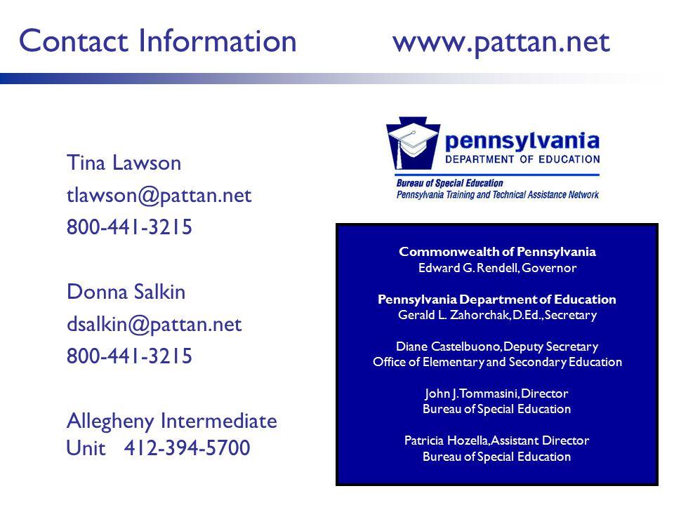 Commonwealth of Pennsylvania Pennsylvania Department of Education