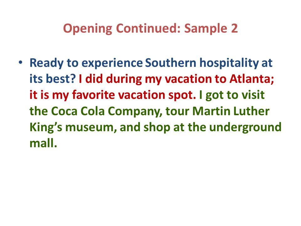 Opening Continued: Sample 2