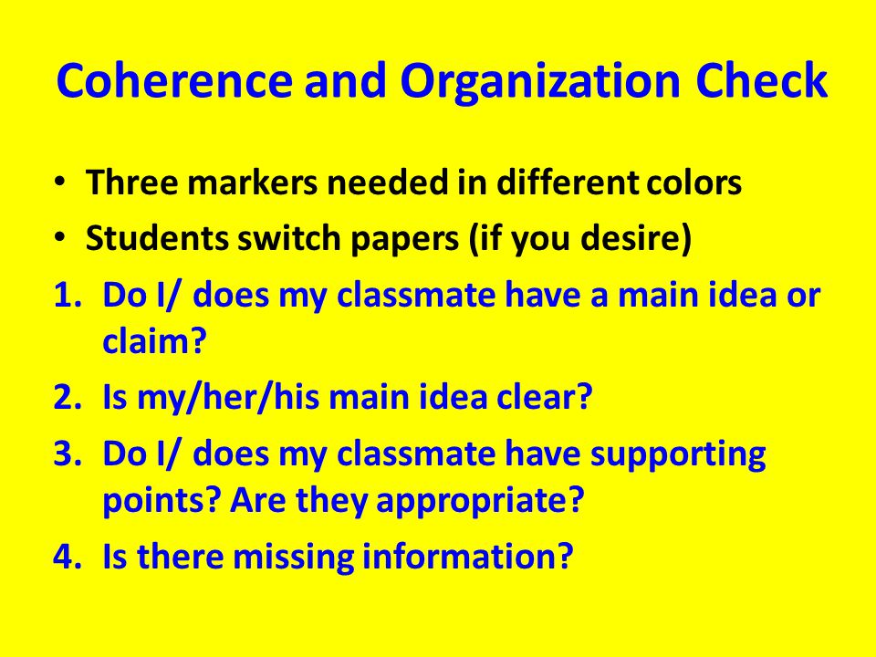 Coherence and Organization Check