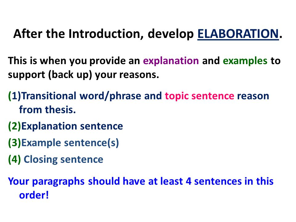 After the Introduction, develop ELABORATION.