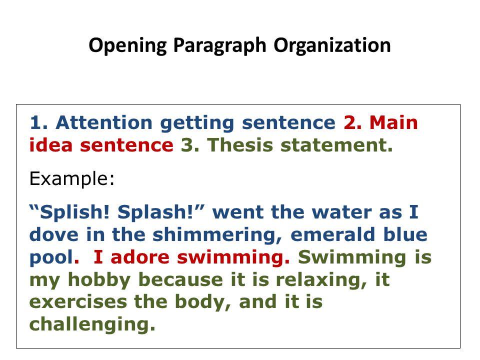 Opening Paragraph Organization
