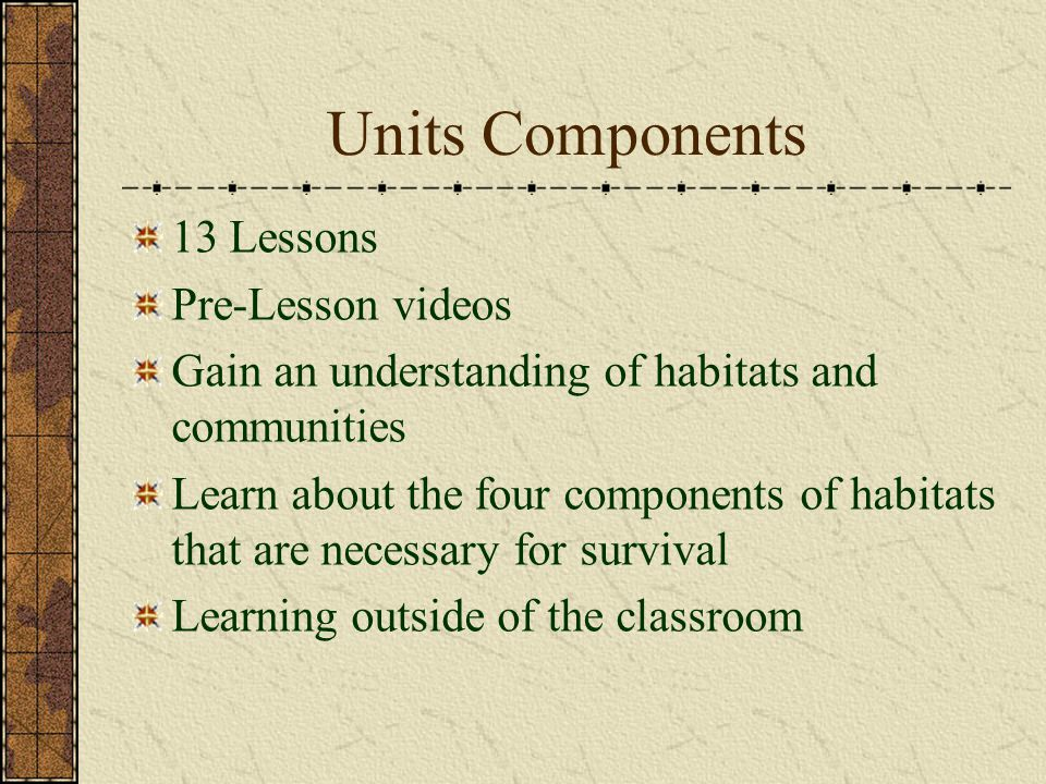 Units Components 13 Lessons Pre-Lesson videos