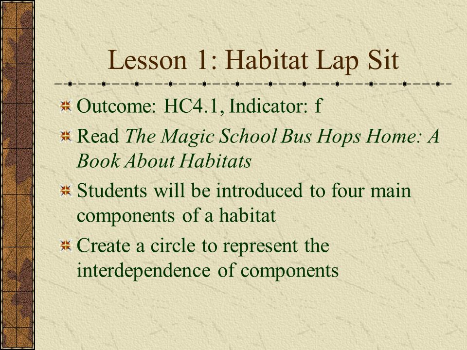 Lesson 1: Habitat Lap Sit