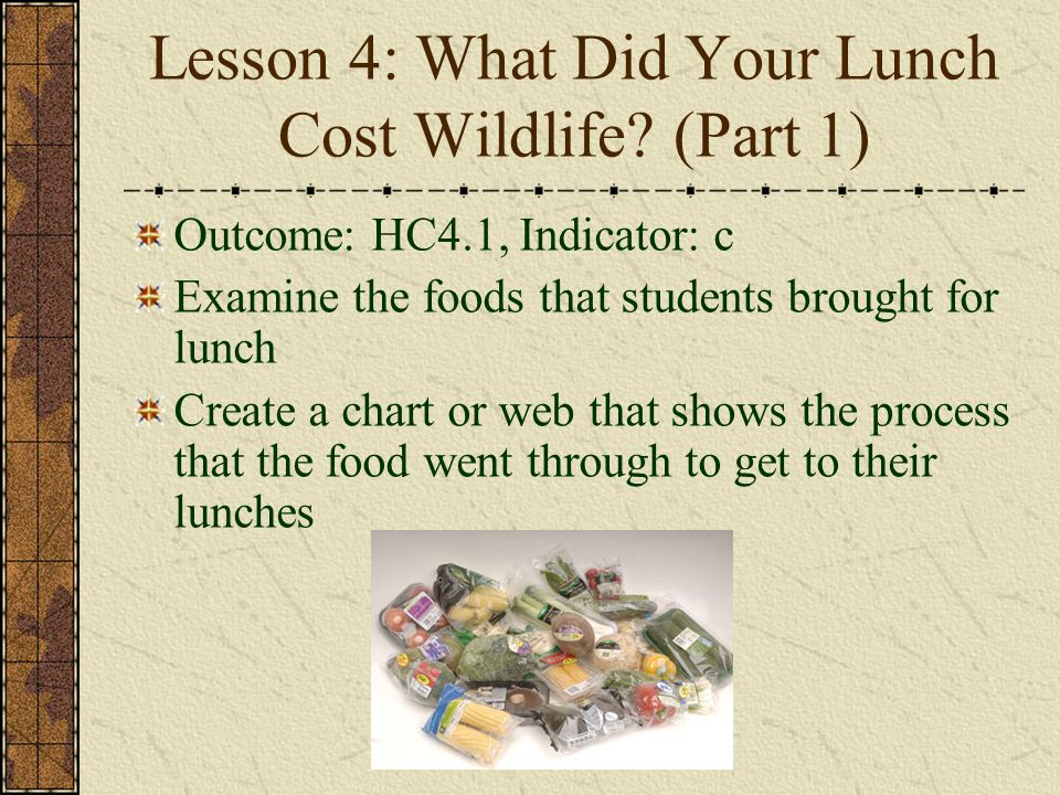Lesson 4: What Did Your Lunch Cost Wildlife (Part 1)
