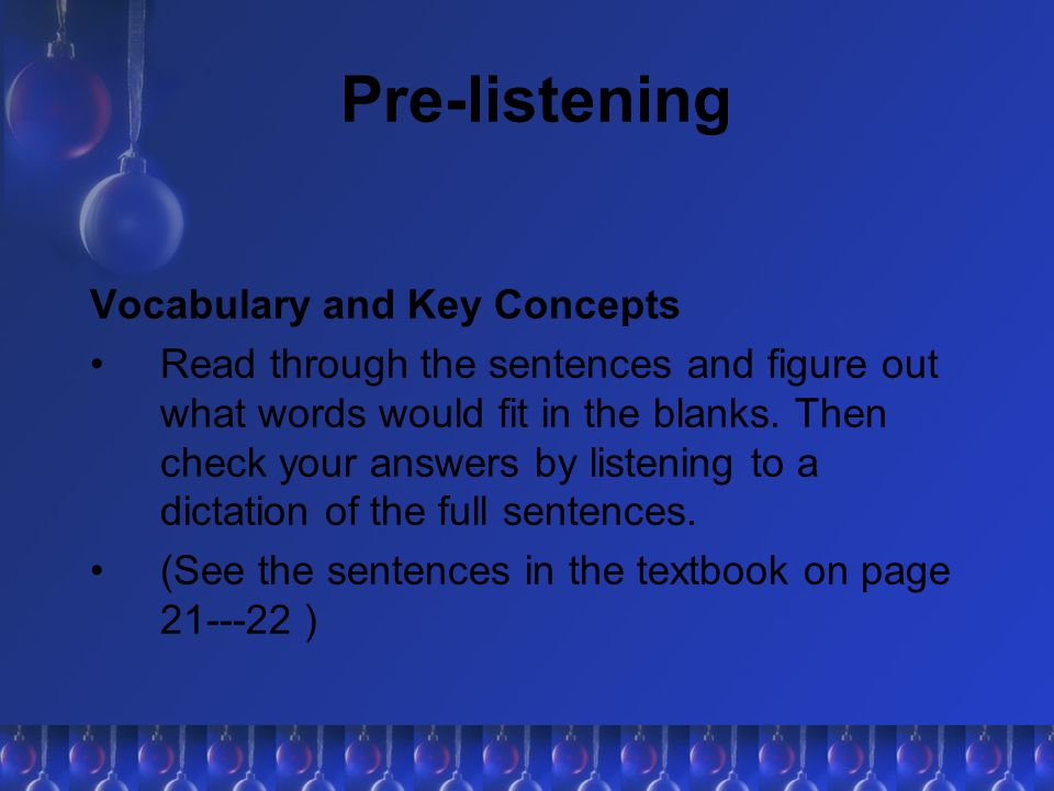 Pre-listening Vocabulary and Key Concepts