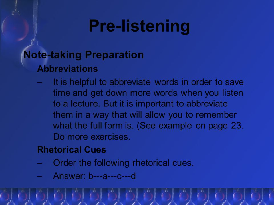 Pre-listening Note-taking Preparation Abbreviations