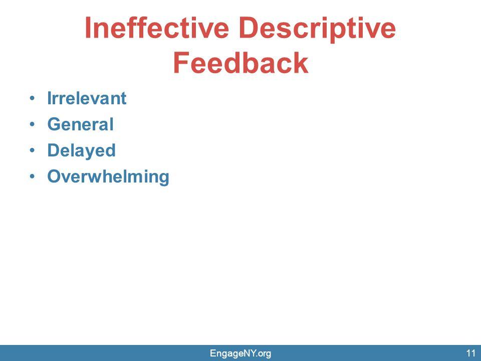 Ineffective Descriptive Feedback