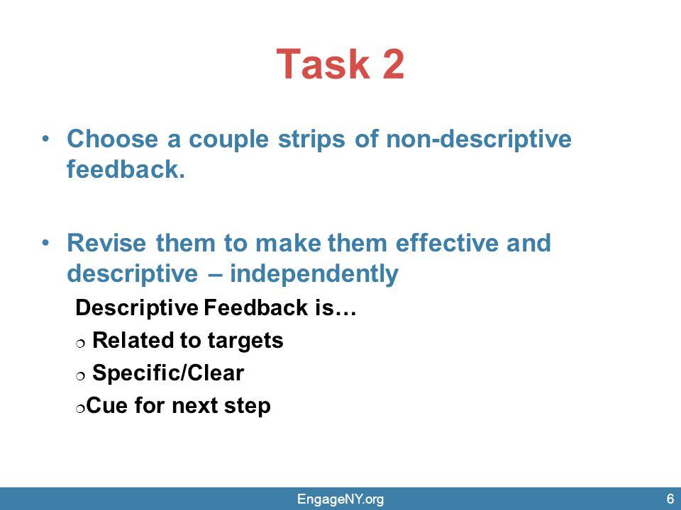 Task 2 Choose a couple strips of non-descriptive feedback.