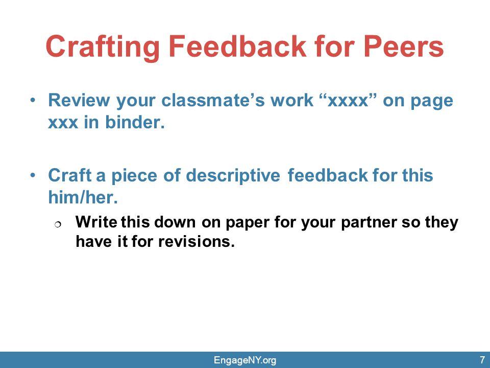 Crafting Feedback for Peers
