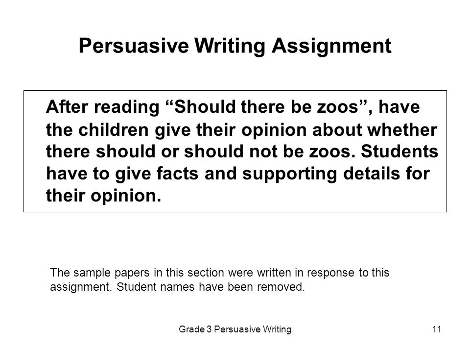 Persuasive Writing Assignment