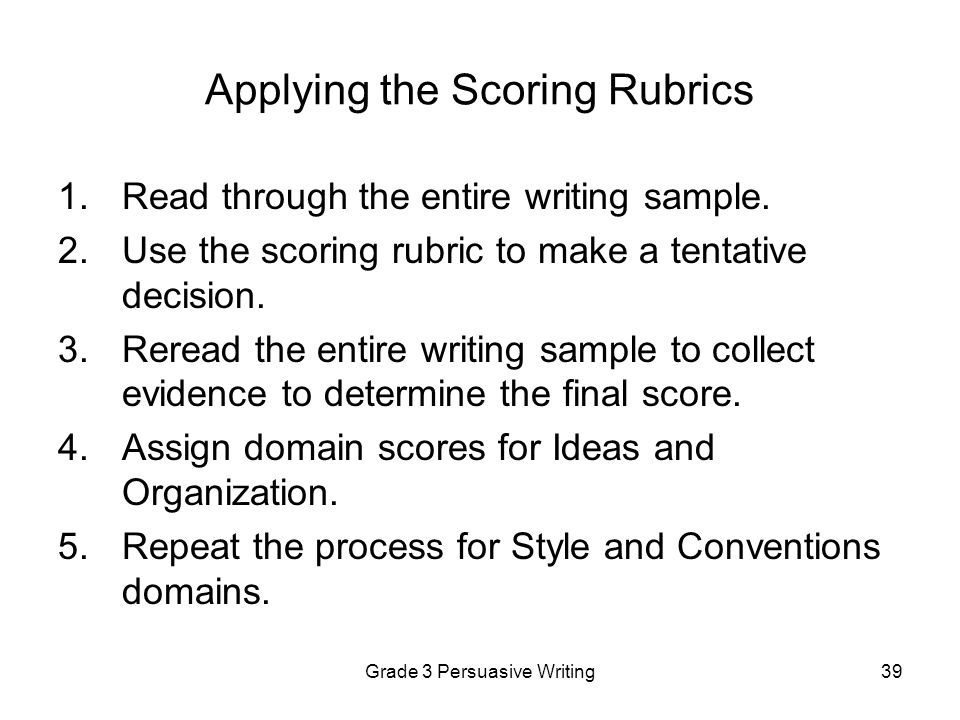 Applying the Scoring Rubrics