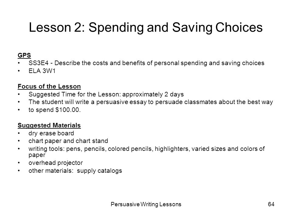 Lesson 2: Spending and Saving Choices