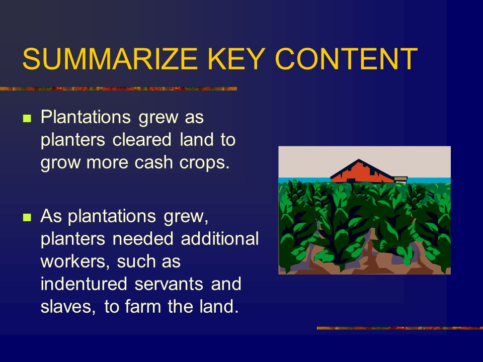 SUMMARIZE KEY CONTENT Plantations grew as planters cleared land to grow more cash crops.