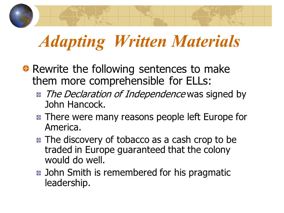 Adapting Written Materials