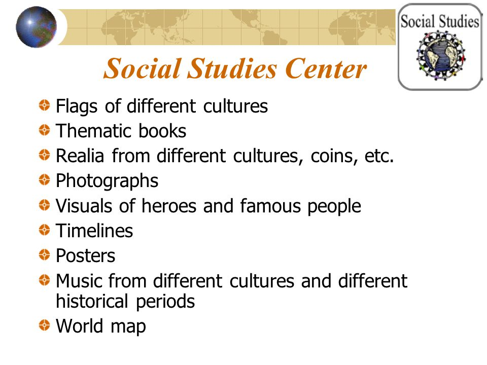 Social Studies Center Flags of different cultures Thematic books