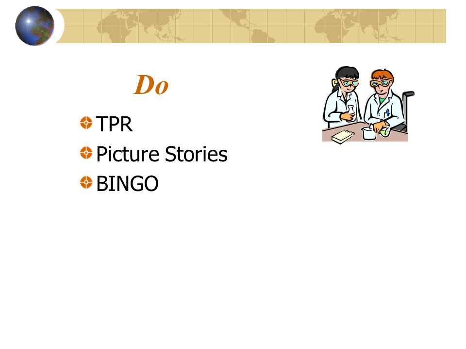 Do TPR Picture Stories BINGO SLIDE 27: