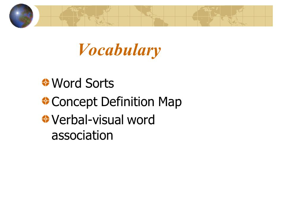 Vocabulary Word Sorts Concept Definition Map