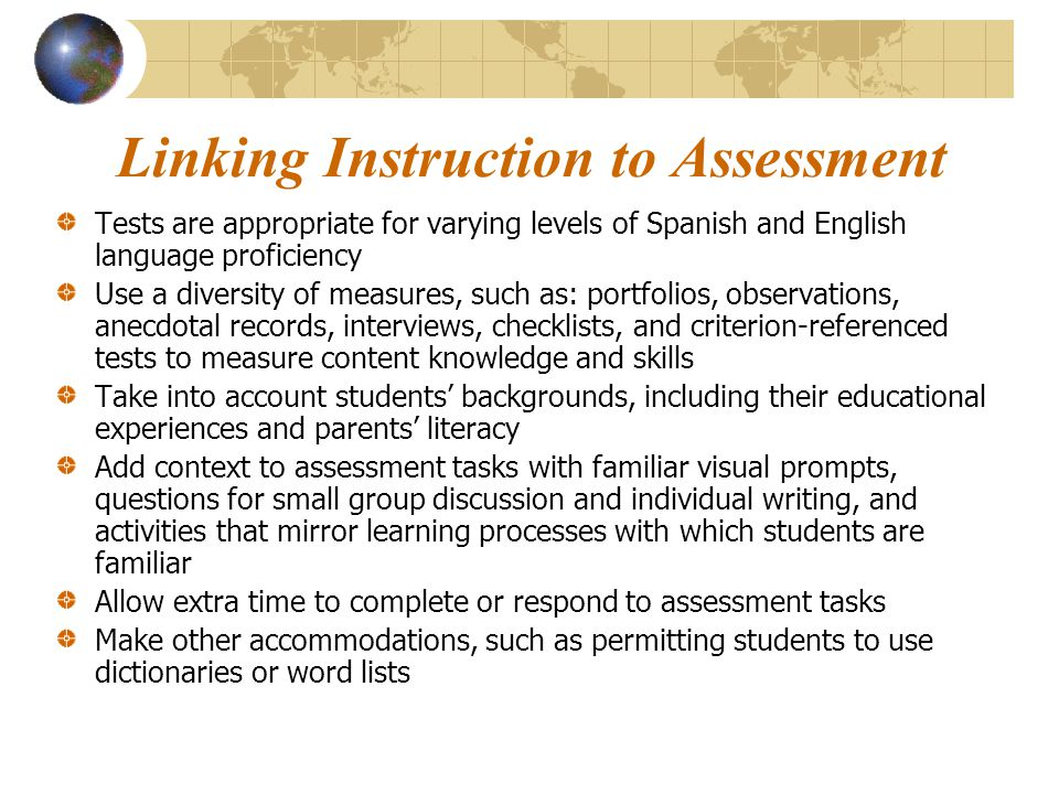 Linking Instruction to Assessment
