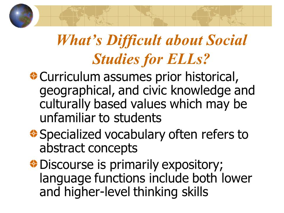 What's Difficult about Social Studies for ELLs