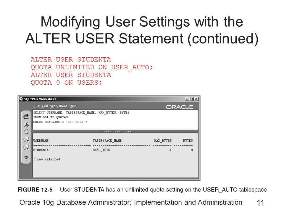 Modifying User Settings with the ALTER USER Statement (continued)