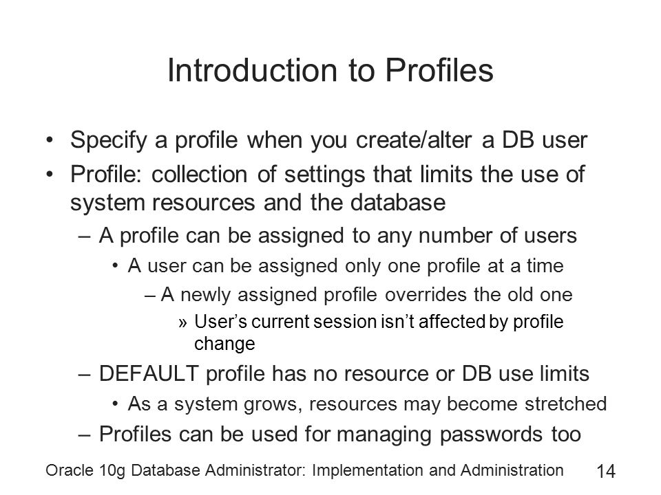 Introduction to Profiles