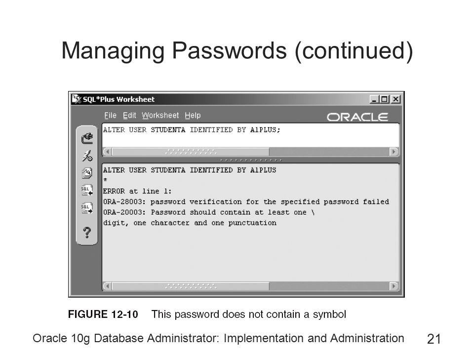Managing Passwords (continued)