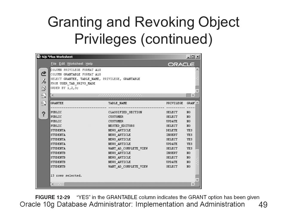 Granting and Revoking Object Privileges (continued)