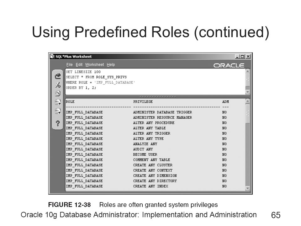 Using Predefined Roles (continued)