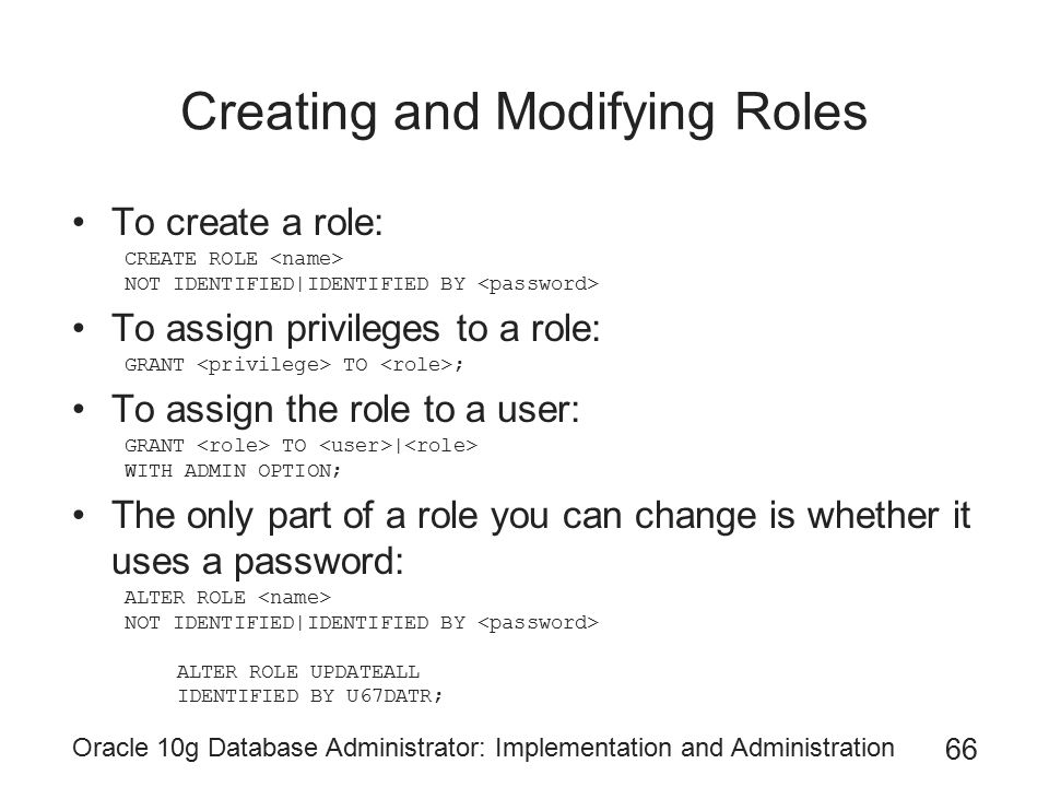 Creating and Modifying Roles