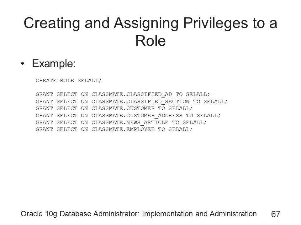 Creating and Assigning Privileges to a Role