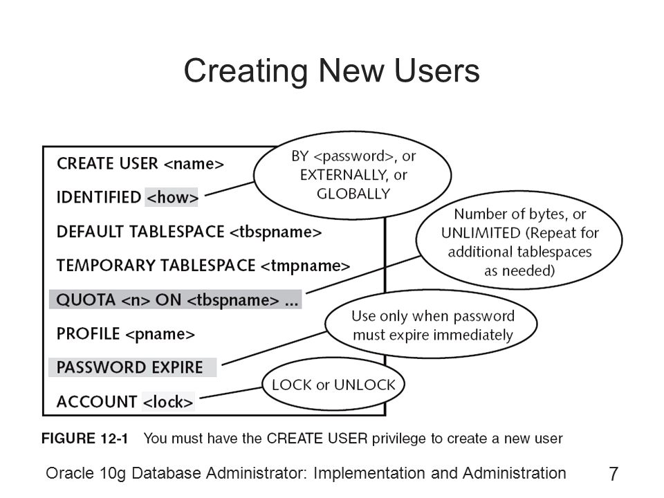Creating New Users Oracle 10g Database Administrator: Implementation and Administration