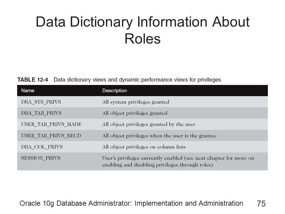 Data Dictionary Information About Roles
