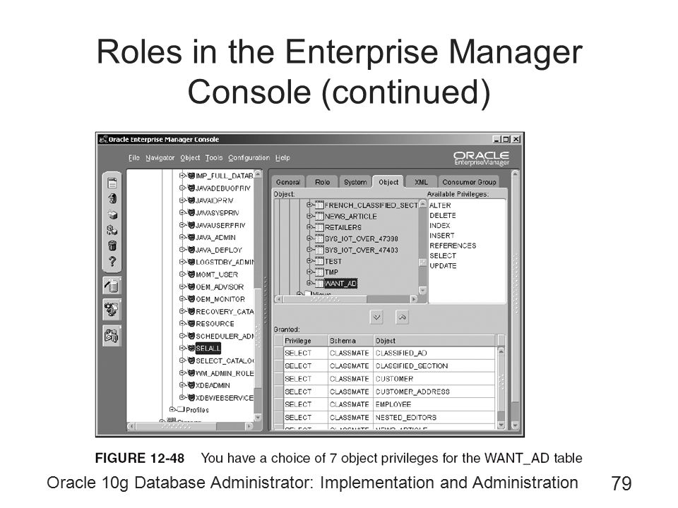 Roles in the Enterprise Manager Console (continued)