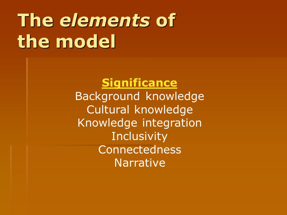 The elements of the model