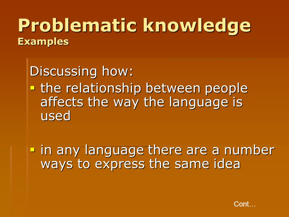 Problematic knowledge Examples
