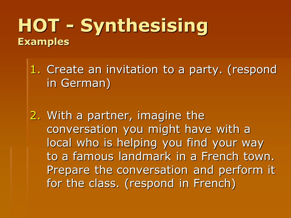 HOT - Synthesising Examples