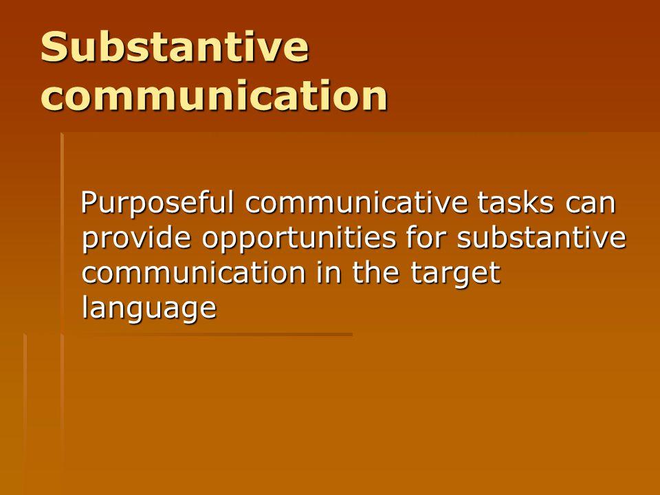 Substantive communication
