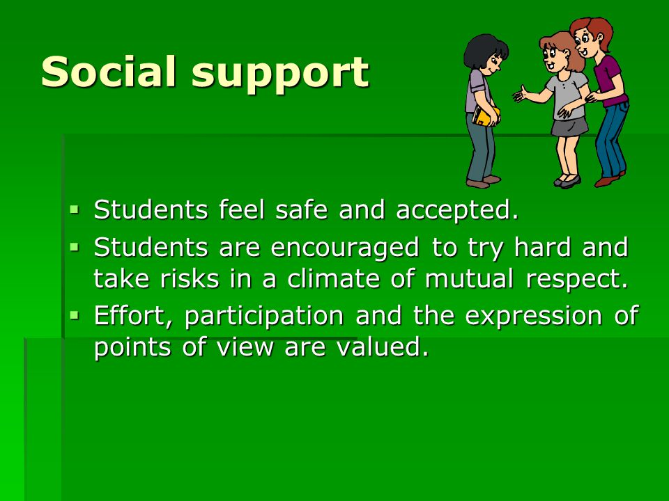 Social support Students feel safe and accepted.
