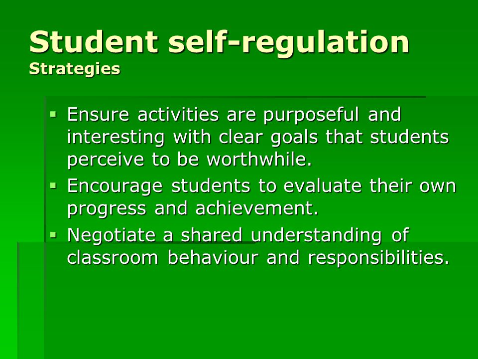 Student self-regulation Strategies