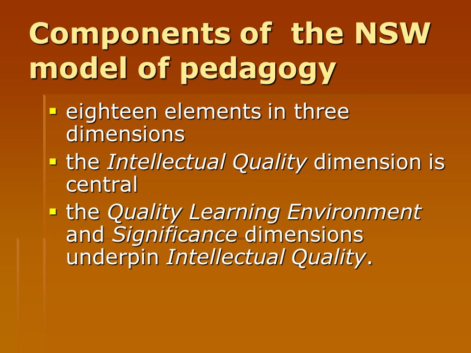 Components of the NSW model of pedagogy