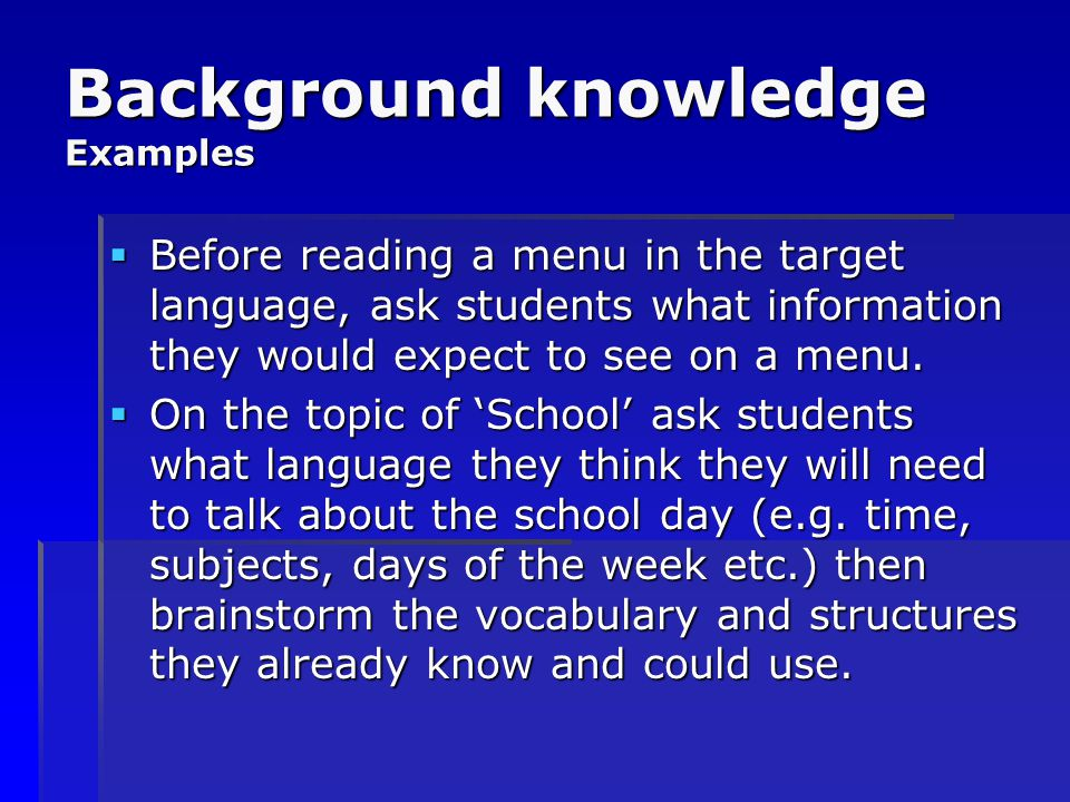 Background knowledge Examples