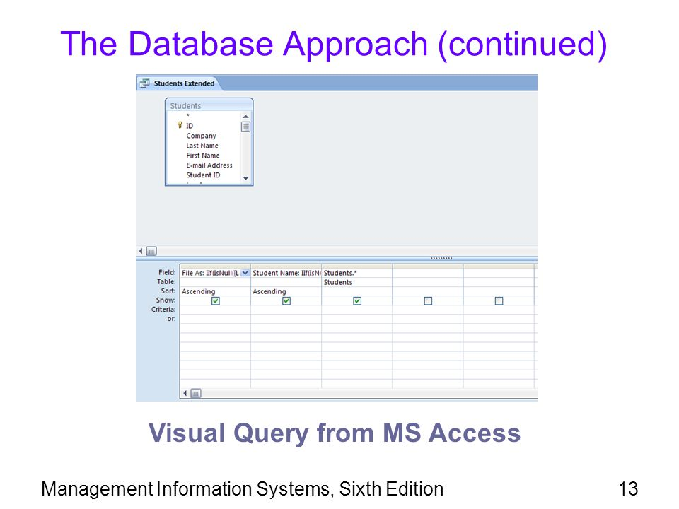 The Database Approach (continued)