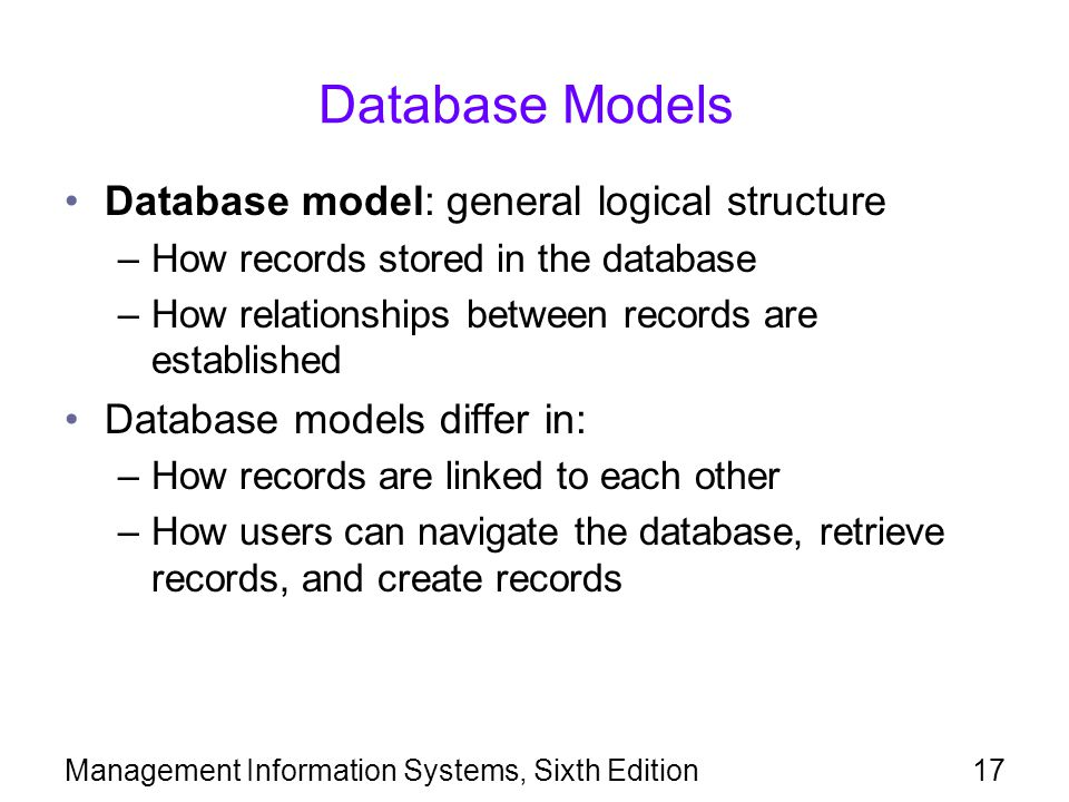 Database Models Database model: general logical structure