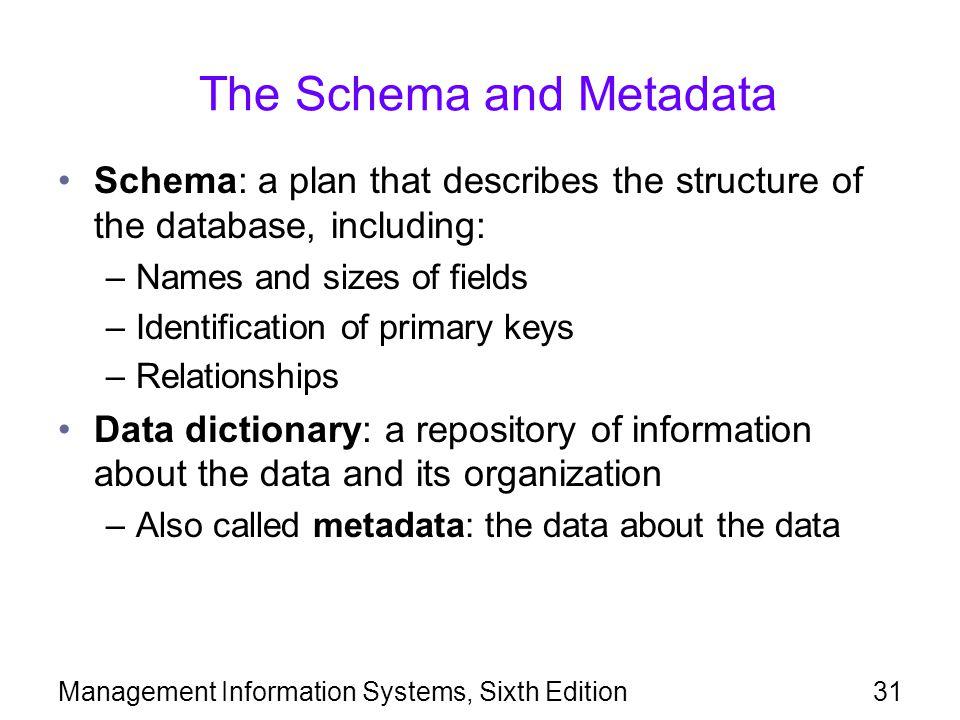 The Schema and Metadata