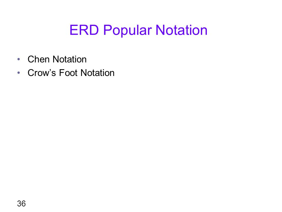 ERD Popular Notation Chen Notation Crow's Foot Notation
