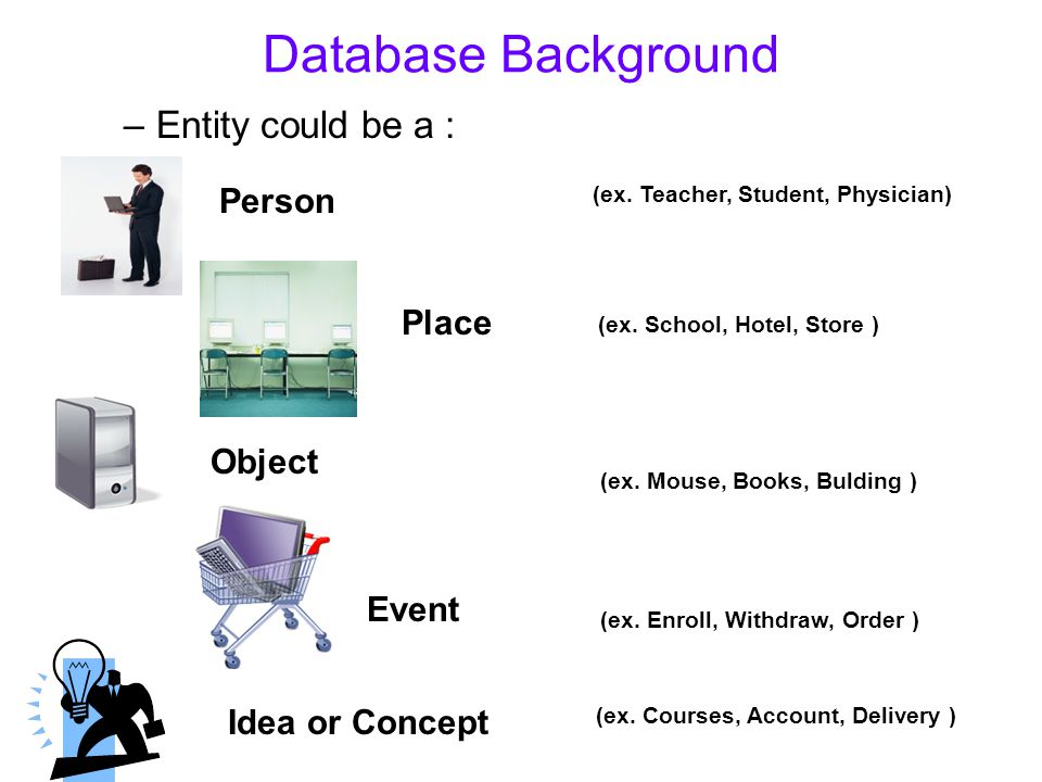 Database Background Entity could be a : Person Place Object Event