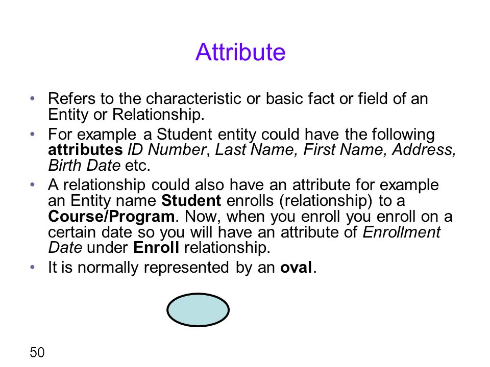 Attribute Refers to the characteristic or basic fact or field of an Entity or Relationship.
