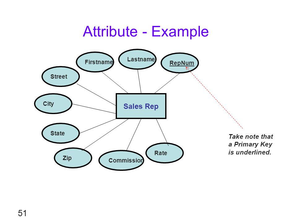 Attribute - Example Sales Rep Take note that a Primary Key
