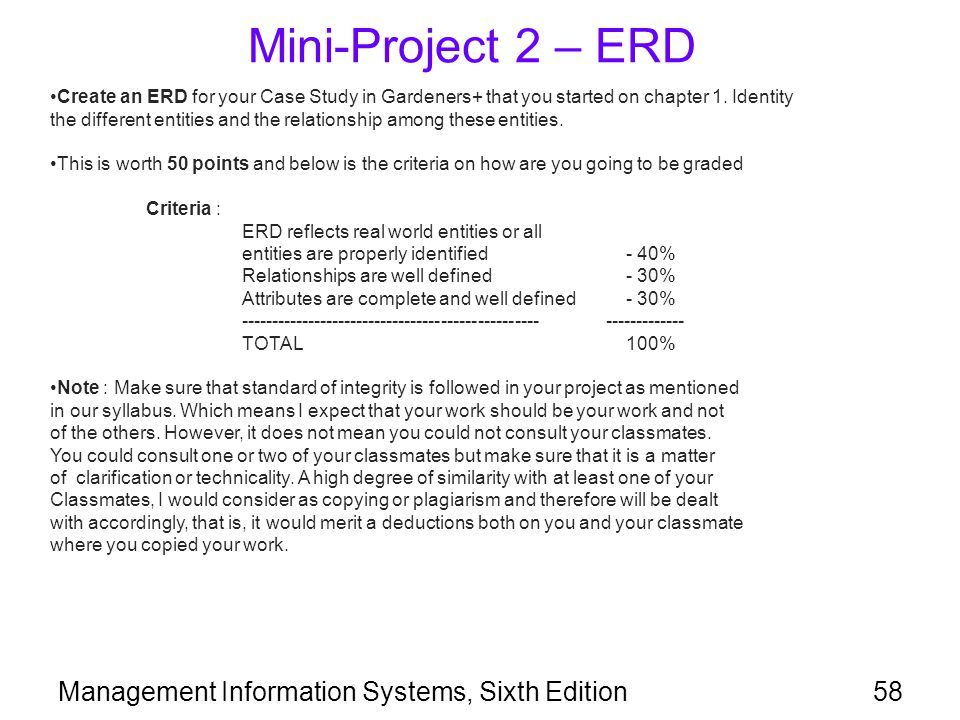 Mini-Project 2 – ERD Management Information Systems, Sixth Edition